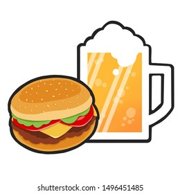 Dinner with beer and cheeseburger