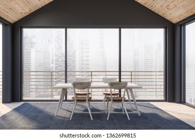 Dinning room interior with huge windows and great city view. 3D rendering.