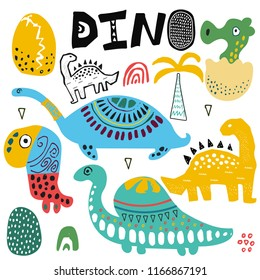 Dino and dinosaur illustration set. Hand drawn cute exotic animals. Egg and palm. Kids drawing