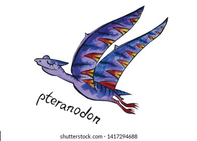 Dino flying kids, illustration watercolor for funny print. Isolated on white color. Pteranodon violet color. Mock up banner for text box.