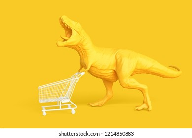 Dino with shopping cart. Retail concept. 3D illustration. Contains clipping path.