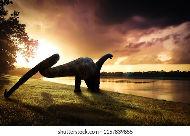 dinosaur , Apatosaurus in the forest (This is toy.)