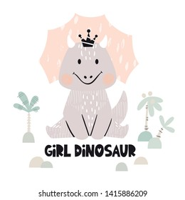 Dinosaur baby girl cute print. Sweet dino princess with crown. Cool triceratops illustration for nursery t-shirt, kids apparel, invitation, simple scandinavian child design. Girl dinosaur slogan