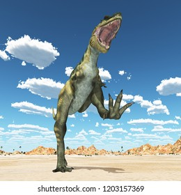 Dinosaur Bistahieversor in the desert Computer generated 3D illustration