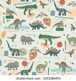 Dinosaur cartoon seamless pattern