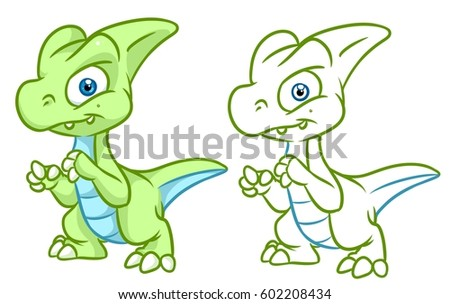 Dinosaur Coloring Page Cartoon Illustrations Isolated ...