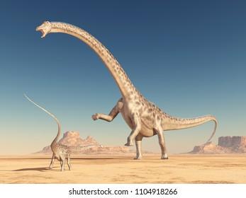 Dinosaur Diplodocus in the desert Computer generated 3D illustration