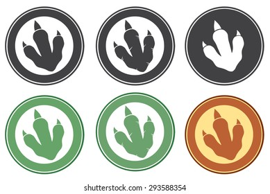 Dinosaur Footprint Circle Label Design. Raster Collection Set
