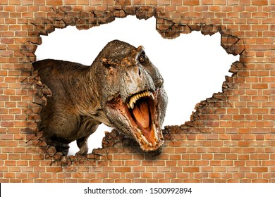 Dinosaur growls from behind a brick wall. 3d illustration.