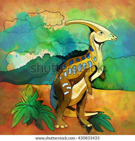 Dinosaur Habitat Illustration Parasauroloph Stock Illustration