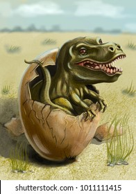 dinosaur hatched from egg drawing digital