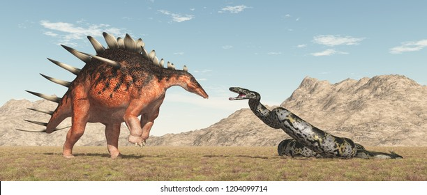 Dinosaur Kentrosaurus and giant snake Titanoboa Computer generated 3D illustration