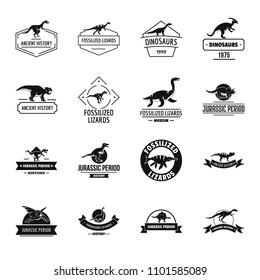 Dinosaur logo icons set. Simple illustration of 16 dinosaur logo icons for web