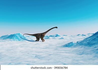 Dinosaur. Prehistoric snow landscape, ice valley with Dinosaurs. Arctic view
