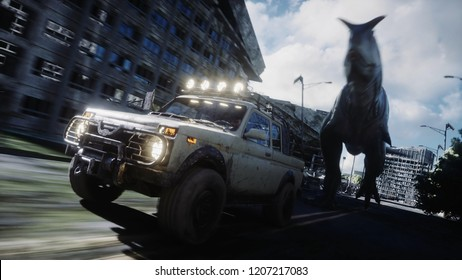 dinosaur rex running behind the car in destroyed city. Dinosaurs apocalypse. Concept of future. 3d rendering.