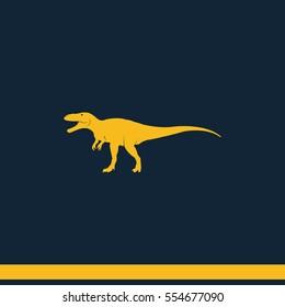 Dinosaur Rex silhouette. Flat icon.