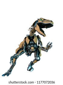 dinosaur robot in a white background, will put some fun at yours creations 3d illustration