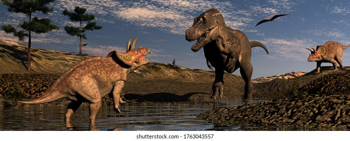 Paysage de dinosaures avec tyrannosaure et tricératops au coucher du soleil - rendu 3D