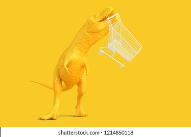 Dinosaur with shopping cart. 3D illustration. Contains clipping path.