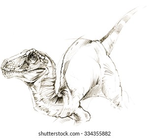 Dinosaur sketch illustration.  Jurassic world. Wild animal. Watercolor background.