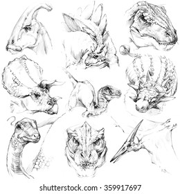 Dinosaur sketch set. Outline jurassic period illustration.