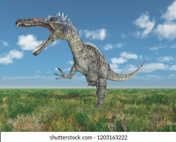 Dinosaur Suchomimus in a landscape Computer generated 3D illustration