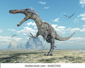 Dinosaur Suchomimus and pterosaur Quetzalcoatlus Computer generated 3D illustration