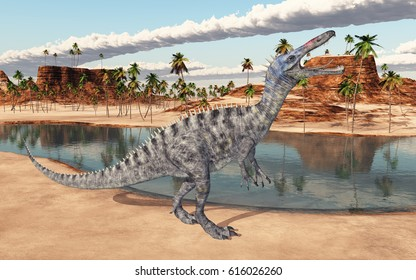 Dinosaur Suchomimus at a waterhole Computer generated 3D illustration