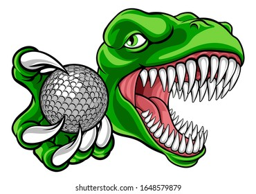 A dinosaur T Rex or raptor golf player cartoon animal sports mascot holding a ball in its claw