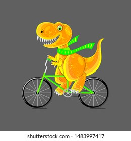 Dinosaur teen ride a bike. Funny cartoon characters. Seamless pattern. Isolated on gray
