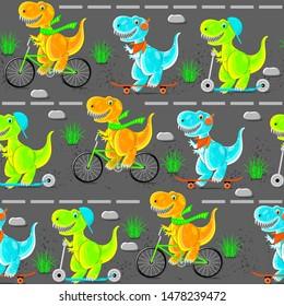 Dinosaur teens ride a bike, scooter, skateboard. Funny cartoon characters. Seamless pattern. Asphalt road, stones, grass.