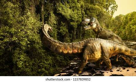 dinosaur , Tyrannosaurus with Apatosaurus  in the forest .(This is toy.)