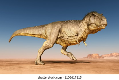 Dinosaur Tyrannosaurus Rex in the desert Computer generated 3D illustration