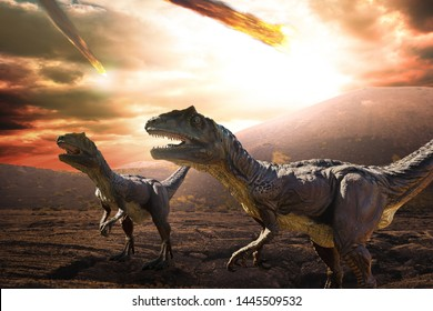 dinosaurs during apocalypse day - 3d rendering