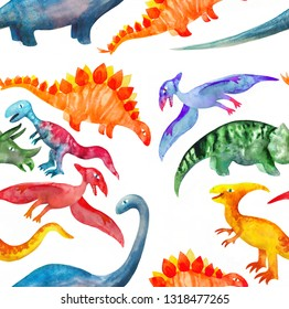 Dinosaurs hand drawn raster seamless pattern. Cute dino characters cartoon texture. Good for wallpaper, wrapping paper, books, kids textile, background fill, party decoration