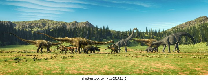 Dinosaurs on the valley . This is a 3d render illustration .