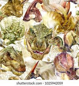 Dinosaurs seamless pattern. hand-drawn prehistoric animals watercolor illustration