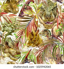Dinosaurs seamless pattern. hand-drawn prehistoric animals watercolor illustration
