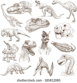 DINOSAURS (set no. 1) - Collection of an hand drawn illustrations. Description: Full sized hand drawn illustrations drawing on white background.