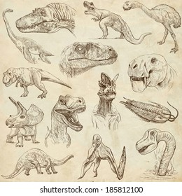 DINOSAURS (set no. 1) - Collection of an hand drawn illustrations. Description: Full sized hand drawn illustrations drawing old paper.