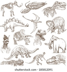 DINOSAURS (set no. 3) - Collection of an hand drawn illustrations. Description: Full sized hand drawn illustrations drawing on white background.