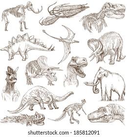 DINOSAURS (Set Nr. 3) - Sammlung handgezeichneter Illustrationen. Beschreibung: Handgezeichnete Illustrationen in voller Größe auf weißem Hintergrund.