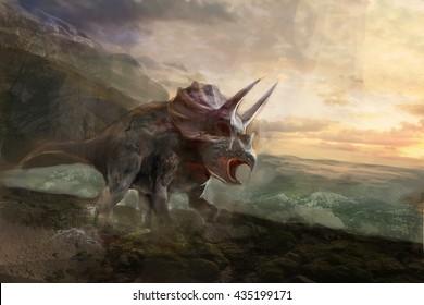 the dinosaurs Torosaurus , on seaside