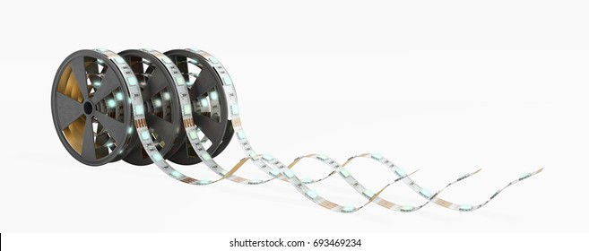 Diode strip Led lights tape in holder close-up 3d render on white no shadow