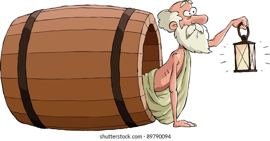 Diogenes looks out of the barrel, raster