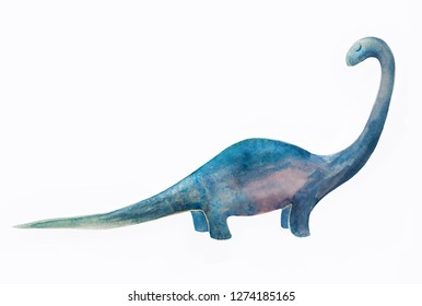 Diplodocus dinosaur cute illustration for child, kids clothes design or other stuff.  Watercolor painting isolated on white background