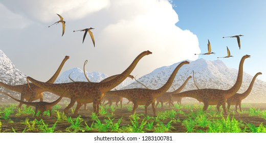 Diplodocus Dinosaur Migration 3D illustration - A herd of Diplodocus sauropod dinosaurs on their yearly migration encounter a flock of Rhamphorhynchus flying reptiles.