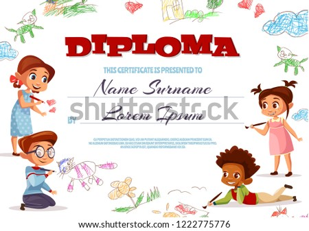 diploma template illustration kindergarten certificate kids stock
