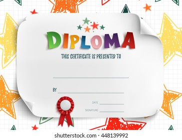 Diploma template for kids, certificate background with hand drawn colorful stars for school, preschool or playschool.