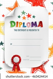 diploma template for kids certificate background with hand drawn stars for school preschool or - Preschool Certificate Template